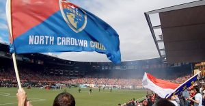 NC Courage flag flying providence park